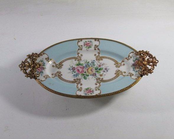 Vintage Limoges Porcelain Pate oval footed , light blue