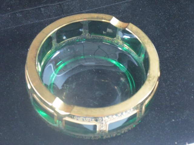 Vintage Bohemian Crystal Green Glass Ashtray with gold