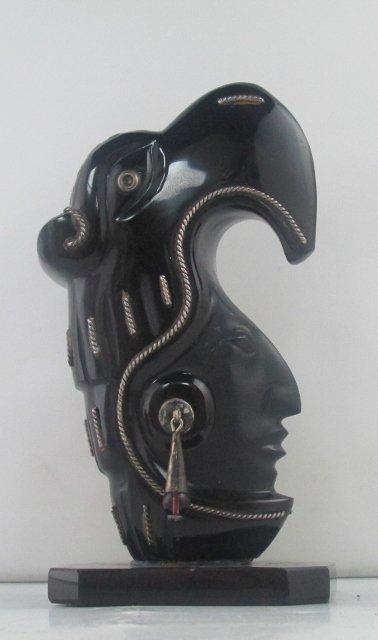 Onyx Black Stone Obsidian Mayan Aztec Carved Idol