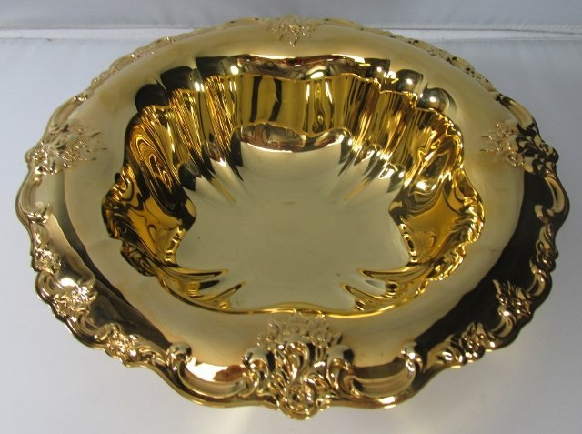 International Silver Co. Gold Wash Plate Bowl . Some