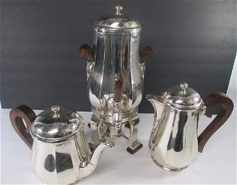 T. Fres French Silver Tea Set 3 Piece w/ Wooden Handles