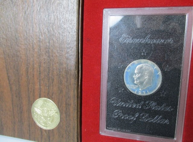 1971 S Proof Eisenhower Dollar 40% Silver in Brown Box