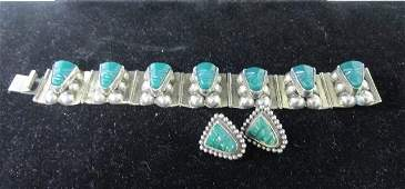 Sterling Silver Jade Aztec Face Bracelet and Earring