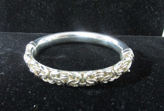 Twisted Rope Braid Design Hinged Cuff Bangle Signed