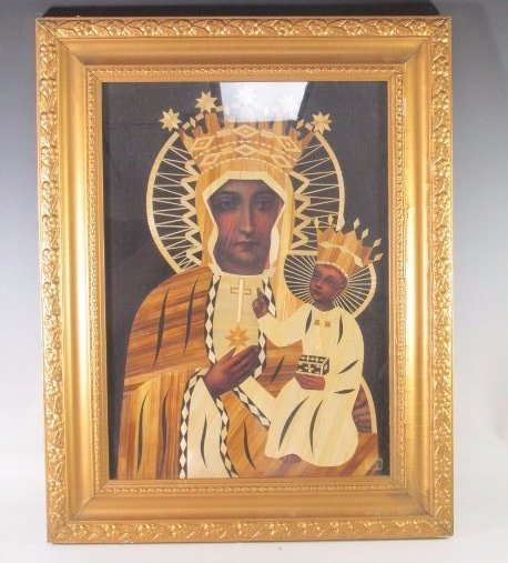 """Russian Icon inlaid w/ wood in gold frame 17""""in by"""