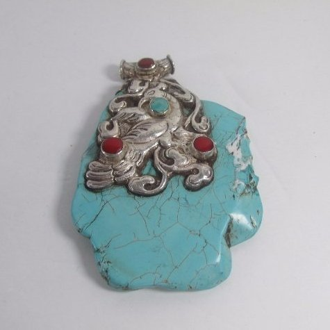 Large Tibetan Peacock Pendant with Turquoise and Coral