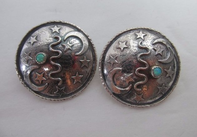Native American Sterling and Turquoise Earrings Signed