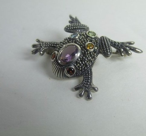 Sterling Silver Frog Pin w/ Marcasite and Semiprecious