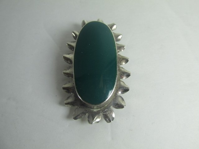 Sterling Silver Brooch/ Pendant with green Jade Large