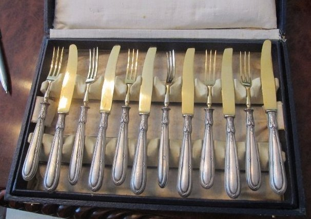 12 Piece Lobster Fork w/Knife set w/Gold wash . Marked