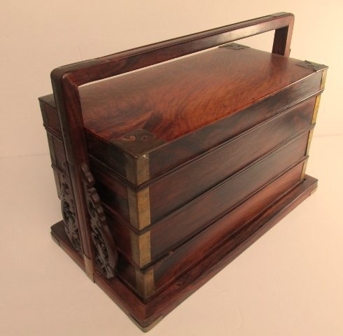 Antique Chinese Wood and Brass Wedding Box/Stackable - 2