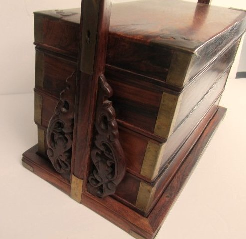 Antique Chinese Wood and Brass Wedding Box/Stackable - 3