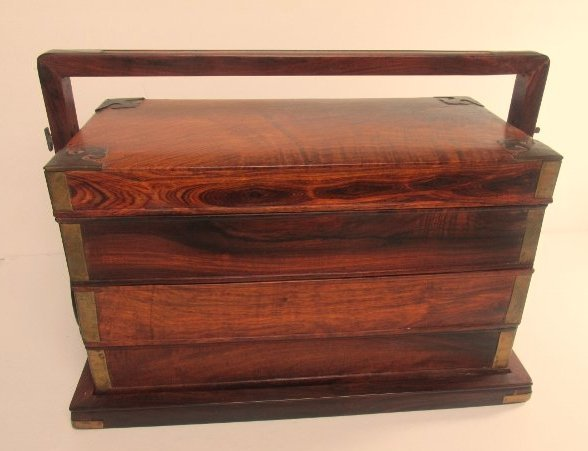 Antique Chinese Wood and Brass Wedding Box/Stackable - 5