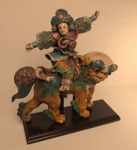 Rare Chinese Roof Tile Warrior and Foo Dog Statue ,