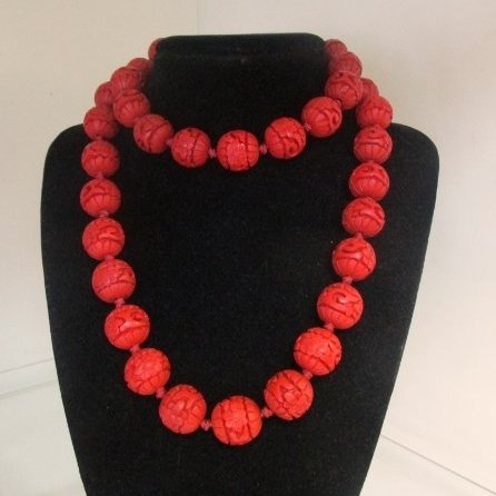 Chinese Carved Cinnabar Shou Bead Necklace w/ Silver