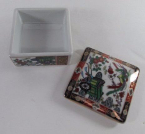 "Vintage Amari Japanese Porcelain Trinket Box 3""in By - 3"