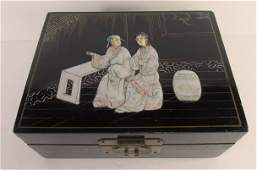 Chinese Black Lacquer Jewelry Box with Mother of Pearl