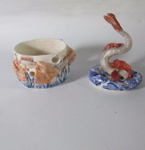 Rare Russian Porcelain Trinket Box with Fish Figurine - 2
