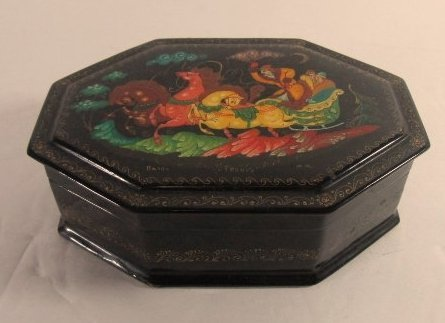 Black Lacquer Russian 8 Sided Trinket Box Hand Painted