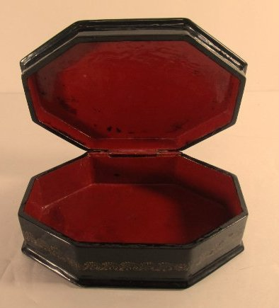 Black Lacquer Russian 8 Sided Trinket Box Hand Painted - 3