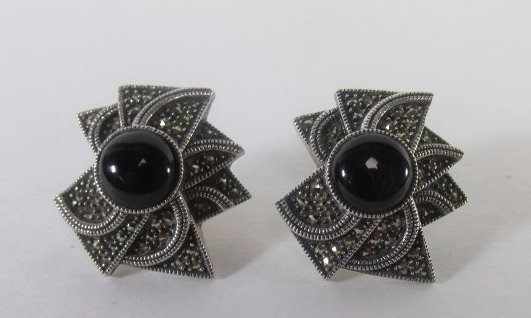 Sterling Silver Marcasite Earring with Onyx Center