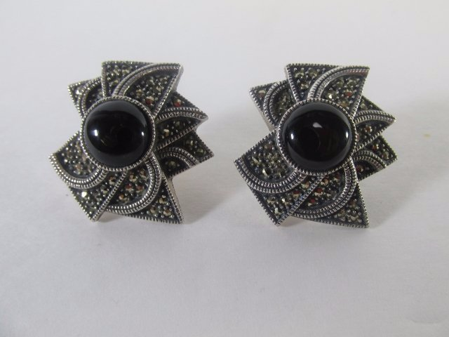 Sterling Silver Marcasite Earring with Onyx Center - 2
