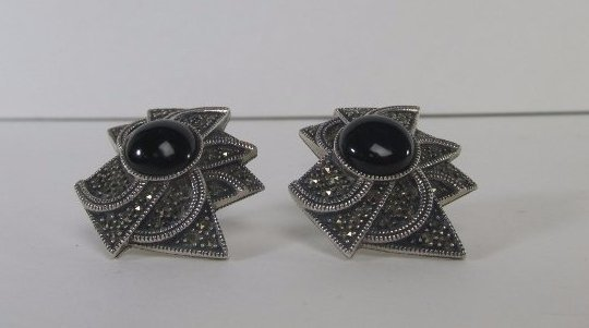 Sterling Silver Marcasite Earring with Onyx Center - 3