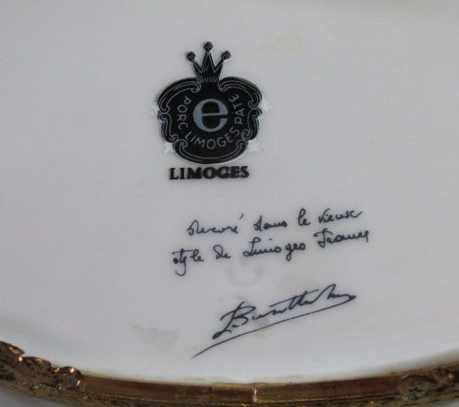 Vintage Limoges Porcelain Pate oval footed , light blue - 3