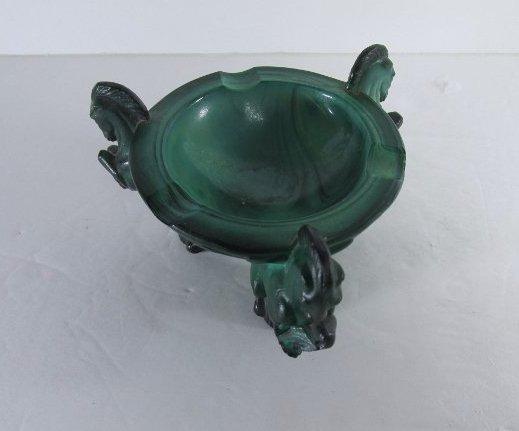 Vintage Art Deco Bohemian Malachite Glass Ashtray w/