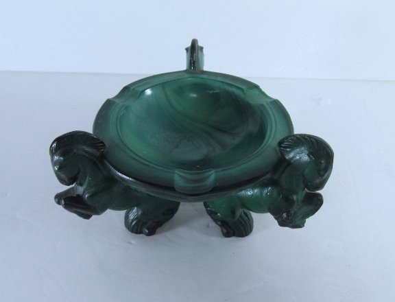 Vintage Art Deco Bohemian Malachite Glass Ashtray w/ - 4