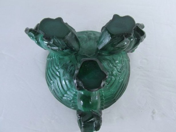Vintage Art Deco Bohemian Malachite Glass Ashtray w/ - 7