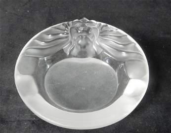 """Lalique """"Tete de Lion """" Ashtray signed Lalique France"""