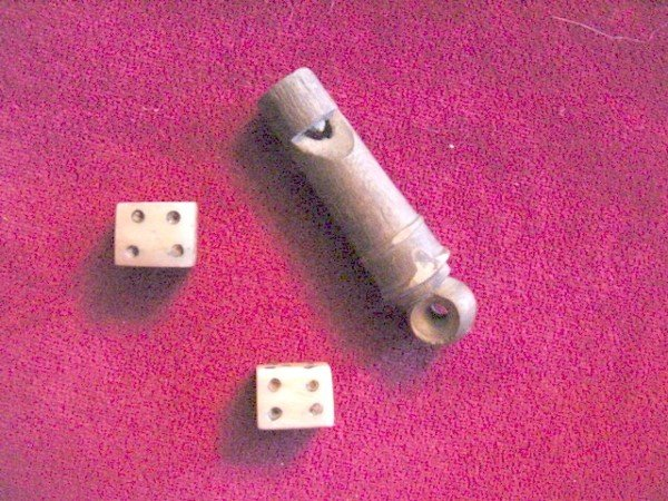 112: Jesse James Collection Wooden Whistle & Bone Dice
