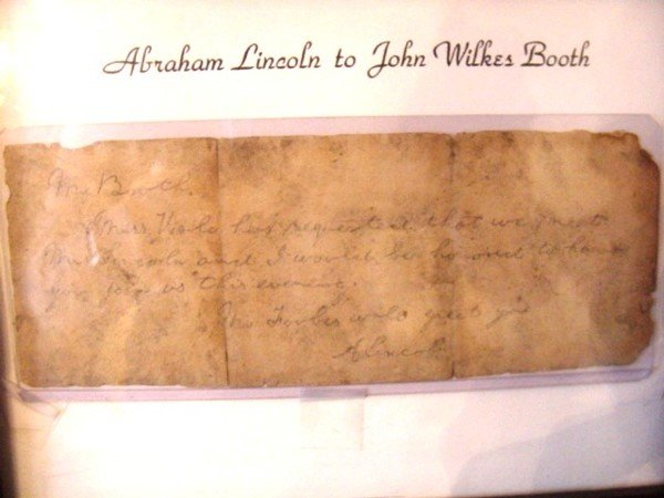 128: Note from Abraham Lincoln to John Wilkes Booth