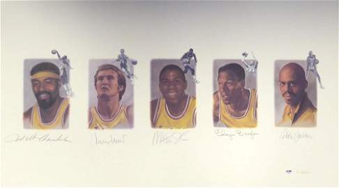 Lakers Legends Signed Lithograph With Wilt Chamberlain,