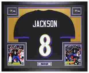 Lamar Jackson Signed 35x43 Custom Framed Jersey (JSA