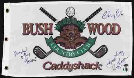 Caddy Shack Cast signed FlAG