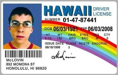 McLovin Drivers License ID Card Superbad Movie Prop