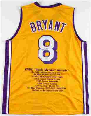 Kobe Bryant Signed Career Highlight Stat Jersey