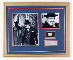 Sir Winston Churchill 18x22 Custom Framed Display with