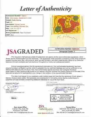 Keith Haring signed Cachet JSA AUTO GRADE 9 Envelope