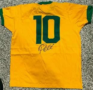 Brazil Pele Signed Soccer Jersey Autographed PSA DNA