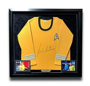 William Shatner Signed Star Trek Yellow Shirt Framed