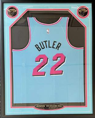 Jimmy Butler Autographed Framed Miami Heat Vice Wave