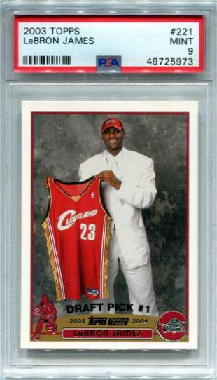 LeBron James 2003 Topps Rookie Card Mint 9 (PSA)
