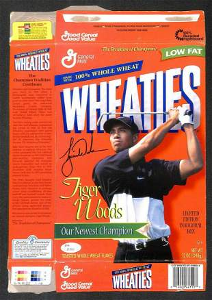 Tiger Woods 1997 MASTERS autographed signed Wheaties