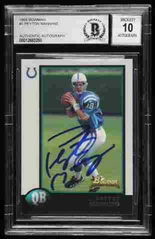 Peyton Manning Signed 1998 Bowman #1 RC (BGS