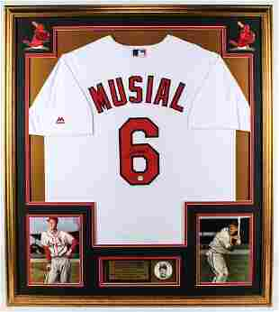 Stan Musial Signed Cardinals 32x36 Custom Framed Jersey