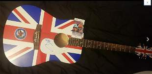 Pete Townshend Signed The WHO British Flag Guitar Uk 1