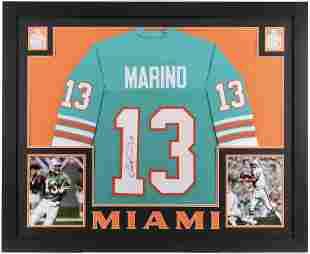Dan Marino Signed 35x43 Custom Framed Jersey (JSA COA)